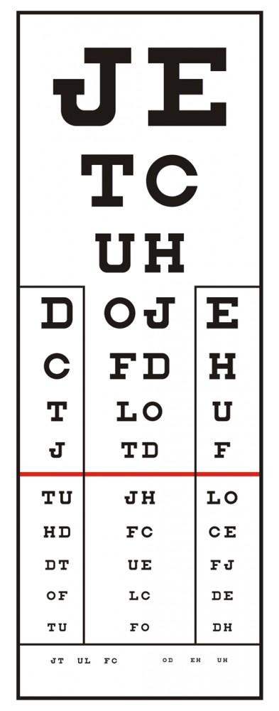 milyen méretű táblázat a látásvizsgálathoz